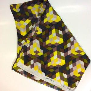 Vintage Couleur Intl Yellow Black Cube Pixel Scarf